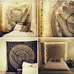Add a gold touch to your dorm space or apartment by hanging this gold tapestry. This trippy tapestry is Handmade from 100% Cotton. The colors used in this gold wall hanging or Bedspread will match your bedroom decor. Shop this Bohemian tapestry bedding at affordable price. Beautiful Dorm tapestry wall hangings is one of the gorgeous piece and from latest tapestry collection for Bohemian and trendy Home decor.  This black tapestry wall hangings or beach tapestry can be used in Beach and…