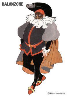Balanzone: maschera tradizionale da stampare gratis e ritagliare Costume Design Sketch, Theater, Old Postcards, Masquerade, Paper Dolls, Snow White, Disney Characters, Fictional Characters, Childhood