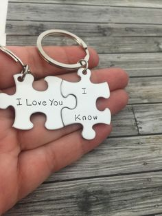 I love you I Know keychains, Couples Keychains, Anniversary Gift, Puzzle Piece Keychain Set, Couples Gift, Stainless Steel