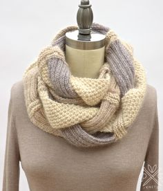 Knitting Pattern: Challah Infinity Scarf by Pam Powers Knits for sale on Etsy (affiliate link) Infinity Scarf Knitting Pattern, Loom Knitting, Knitting Patterns Free, Knit Patterns, Knit Cowl, Knitting Needles, Free Knitting, Free Pattern, Finger Knitting