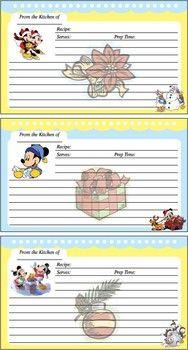 Mickey Christmas Recipe Cards, Mickey Mouse, Recipe Cards - Free Printable Ideas from Family Shoppingbag.com