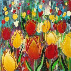 Anita Ammerlaan - Tulip-Field, 30x30x4cm, 2013.  www.anitaammerlaan.exto.nl  Spring is coming :-))