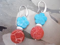 Turquoise flower coral earrings, Coral fossil dangles, Silver drops, Ocean inspired jewelry, Summer trends, Mother's day gift, Beach theme. Turquoise Flowers, Coral Earrings, Summer Trends, Beach Themes, Fossil, Crochet Earrings, Dangles, Ocean, Inspired