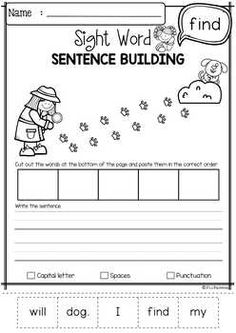 Sight Word Sentence Building (Pre-Primer) by Miss Faleena Sight Words Printables, Sight Word Worksheets, Sight Word Activities, Kindergarten Reading, Kindergarten Classroom, Sight Word Sentences, Life Skills Classroom, Sentence Building, First Grade Worksheets