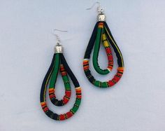 Ankara double hoop earrings