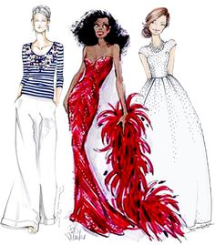Fabulous Doodles- Forth of July Fashion Illustrations- Oscar de la Renta, Bob Mackie for Diana Ross and bride by Brooke Hagel