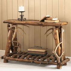 Mountain Woods Furniture® Rustic Lodge Sofa Table <br> Cabela's Exclusive! Bring the rich, rustic feel of a five-star lodge to your home or cabin. Mountain Woods Furniture's Rustic Lodge Sofa Table combines genuine aspen and faux Driftwood Furniture, Rustic Furniture, Furniture Ideas, Rustic Sofa, Rustic Table, Antique Furniture, Diy Table, Furniture Stores, Furniture Design
