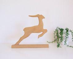 Scandinavian Folk Art Deer Figure // Wooden Deer  vintage