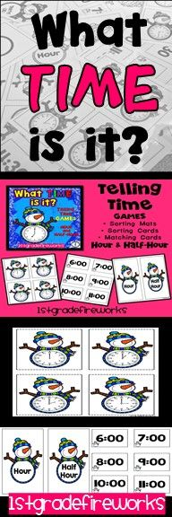 https://www.teacherspayteachers.com/Product/What-TIME-is-itSNOWMAN-2942488 Snowman themed TELLING TIME games.  Telling time to the hour and half-hour.  Includes: ...Sorting Mats ...Sorting Cards ...Matching Mats ...Matching Cards  Multiple game formats.  Available in color & B/W