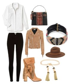 Pocahontas by para6noia on Polyvore featuring moda, Lacoste, Yves Saint Laurent, Aquazzura, Valentino, Sole Society, rag & bone, Lizzie Fortunato Jewels and tribal