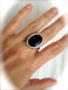 Vintage Onyx and Pave Estate Ring Large Stone by WOWTHATSBEAUTIFUL
