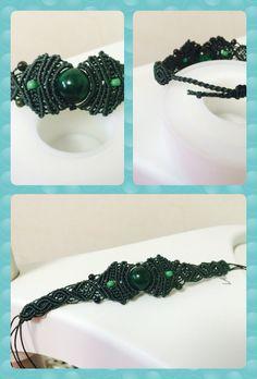 Macrame bracelet green gemstone