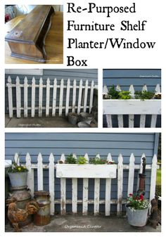 Picket Fence  A Repurposed Furniture Window Box www.organizedclutterqueen.blogspot.com