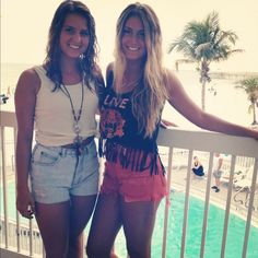 BFF's wearing high waisted shorts -- a must have