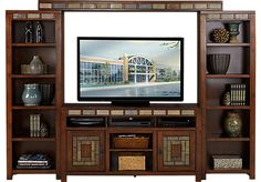 picture of Bartlett II Cherry 4 Pc Wall Unit from Wall Units Furniture