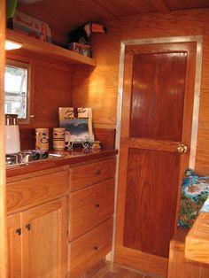 Woodie Love Bug, nice glossy wood interior in a vintage looking new trailer