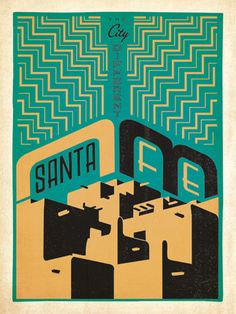 Santa Fe: Print Shop - After winning international acclaim for creating the Spirit of Nashville  Collection, designer and illustrator Joel Anderson set out to create a  series of classic travel posters that celebrates the history and charm  of America's greatest cities. This geometric print celbrates Santa Fe's adobe architecture and distinct artistic flair.<br />