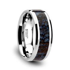 $540 Blue Dinosaur Bone Inlaid Tungsten Wedding Band www.ringsparadise.com