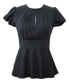Black Pleated Peplum Top
