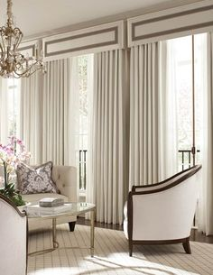 designer fabrics and custom window treatments shipping to you. Message us for personal assistanceEye Candy. designer fabrics and custom window treatments shipping to you. Message us for personal assistance French Door Coverings, Window Coverings, Window Cornices, Box Valance, Cornice Box, Valences For Windows, Window Drapes, Curtain Styles, Curtain Designs