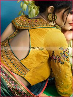 Best sari blouse styles Read details on _ Blouse Back Neck Designs, Simple Blouse Designs, Stylish Blouse Design, Pattu Saree Blouse Designs, Blouse Designs Silk, Bridal Blouse Designs, Blouse Patterns, Fancy Sarees, Window Design
