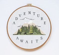 Adventure Cross Stitch Pattern, Adventure Modern Cross Stitch Pattern, Quote Cross Stitch Pattern, PDF Format, Instant Download