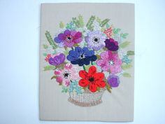 1950s Vintage Embroidery Vintage Needlepoint Vintage by FillyGumbo, $45.00