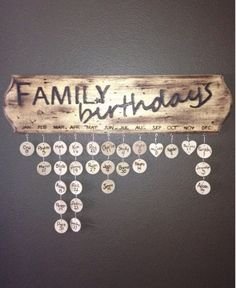 A board to remember birthdays by. A really neat idea for big families!