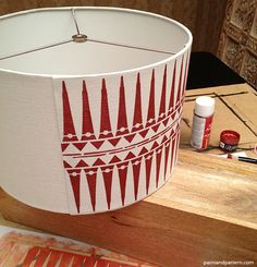 DIY Painting stencils on a lamp shade - some tips on how to paint crisp and clean stencils on a fabric shade