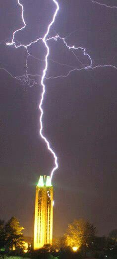 The Jayhawks are charged! Lightning strike at University of Kansas... Lawrence, KS