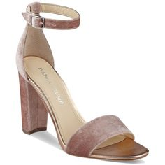 Ivanka Trump Emalyn Velvet Ankle Strap Block Heel Sandals ($120) ❤ liked on Polyvore featuring shoes, sandals, light pink, ivanka trump sandals, ivanka trump footwear, ivanka trump, block heel sandals and ivanka trump shoes