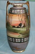 "Vintage Nippon china vase w/2 gold handles-Scenery/Gold beads-10.5""tall"