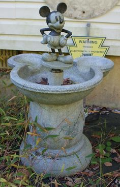 194: (2) Mickey Mouse bird baths, one with fountain, ta : Lot 194