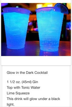 Glow in the dark Cocktail  # tipsy Bartender