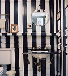 black and white striped bathroom.  needs a yellow something.
