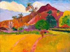 In 1891 Paul Gauguin painted Tahitian Landscape using oil on canvas. Paul Gauguin went to Tahiti in 1891 in search of new, exotic motif. Paul Gauguin, Henri Matisse, Claude Monet, Oil On Canvas, Canvas Art, Large Canvas, Impressionist Artists, Oil Painting Reproductions, Art Moderne