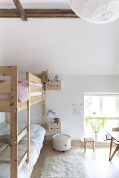 mommo design: #BUNK BEDS i like the side table ideas. also to have in the room the initials of our name