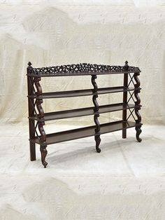 Carved Anglo Indian Open Book Shelf ROSEWOOD Late 19th Century Size (cms): 202 (W) X 40 (D) X 140 (H)