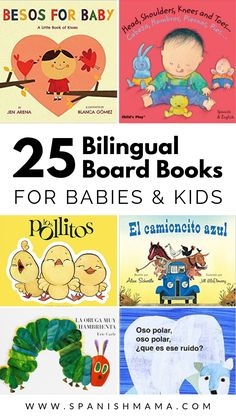 Find the best bilingual board books in Spanish and English for babies, toddlers, and children. Reading with your kids is so important for their language development and these fun Spanish books are a great start! Preschool Spanish, Preschool Books, Teaching Spanish, Spanish Activities, Learn Spanish, Teaching French, Spanish Class, Little Books, Good Books