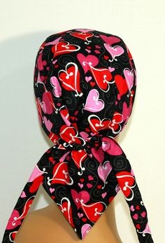 Valentine's day Biker hat with pocket by UniScrubCaps on Etsy, $10.99