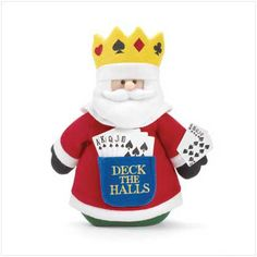 """""""deck the halls"""" santa   Description   It's hard to read Santa's poker face behind that beard, but from the looks of things he's got the winning hand! Plush. 12"""" x 12"""" high."""