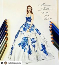 """5,477 Likes, 33 Comments - Eris Tran (@eris_tran) on Instagram: """"I'm a fabulous lady at the party. Inspired by @georgeshobeika haute couture fall 2017 #sketch…"""""""