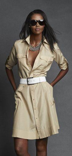 Ralph Lauren Black Label Safari Shirt Dress: Crafted from a lightweight silk-and-cotton blend Safari Dress, Safari Shirt, Look Fashion, Timeless Fashion, Fashion Design, Safari Look, Chic Outfits, Fashion Outfits, Silk Shirt Dress