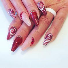 Strass , Malerei , Babyboomer Baby Boomer, Nail Art, Nails, Red, Beauty, Painting Art, Finger Nails, Ongles, Nail Arts