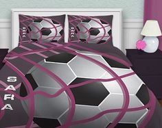 Bedding Soccer, Soccer Bedding For Girls, Teen Bedding, Purple Bedding, Personalized Duvet Cover  #13