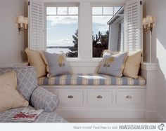 Isn't this cute and classical? It sure is! The window shutters and the colors of the window seat is very charming.