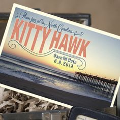 Vintage Travel Postcard Save the Date (Kitty Hawk, North Carolina) - great design for a wedding save the date card!