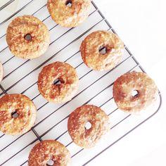 Paleo, low carb Cinnamon Sugar Donuts with Maple Glaze
