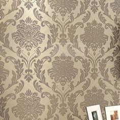 Parede floral DAMASCO Wallpapers rolo de papel Europa clássico Tapete para Sala Quarto Home Decor Marrom Cinza Papel de Parede 49.99