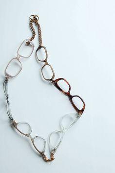 vintage eyeglass frames made into a necklace